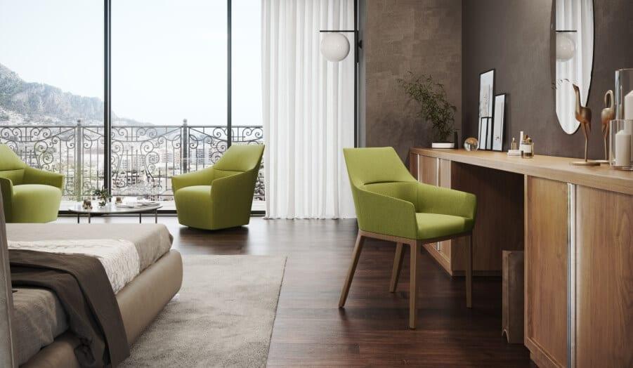 Krzesła w pokoju hotelowym stanowią ważny element funkcjonalny i stylistyczny