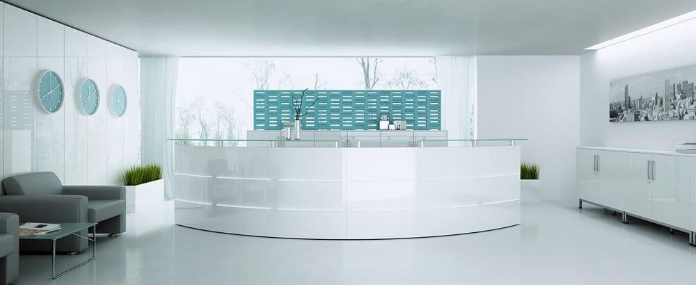 Projektujemy recepcje charakteryzujące się wysoką estetyką oraz wygodą dla pracowników i klientów